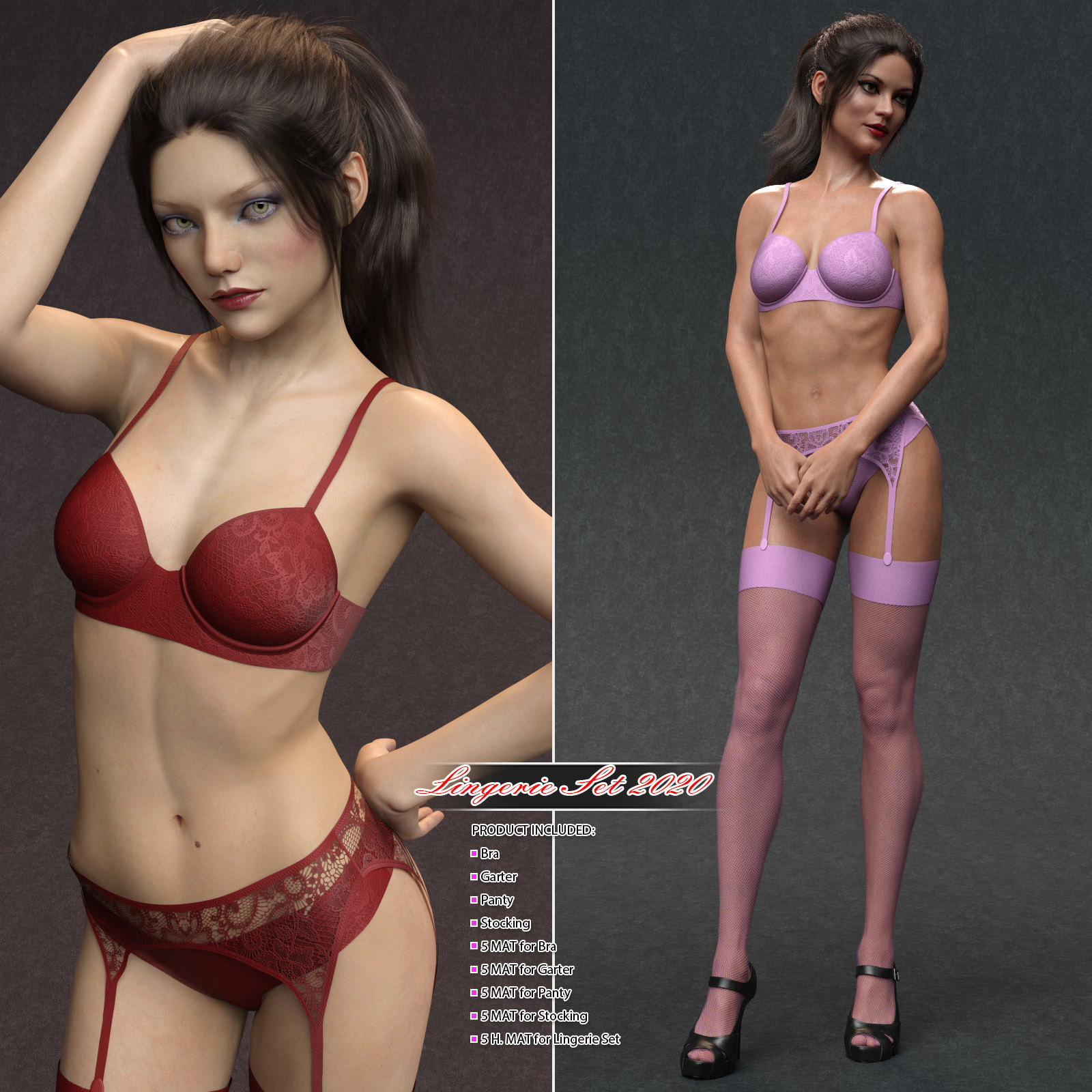 Lingerie Set 2020 for Genesis 8 Female_DAZ3D下载站