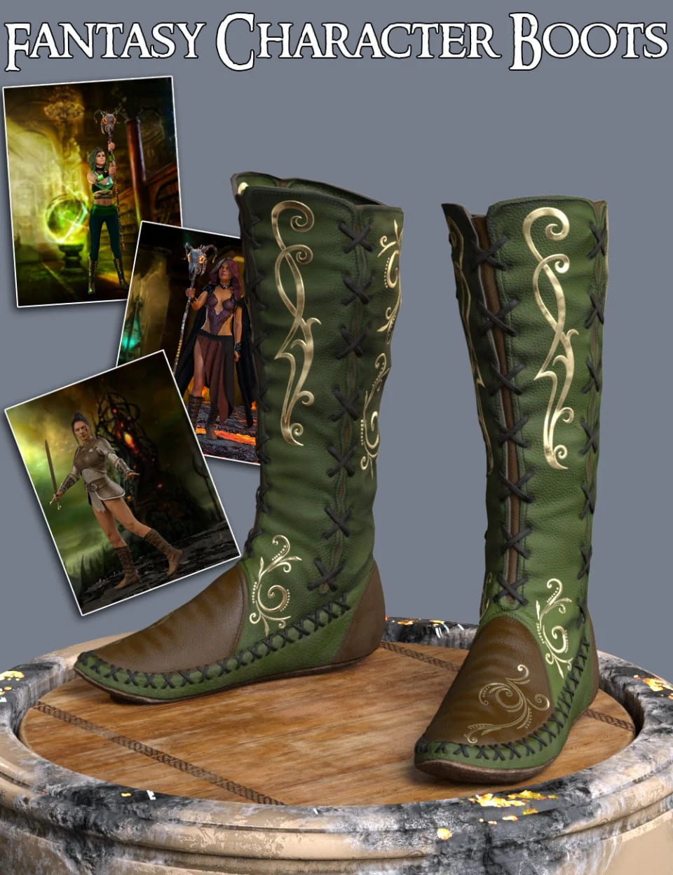 S3D FC Boots for Genesis 3 and 8 Female(s)_DAZ3D下载站