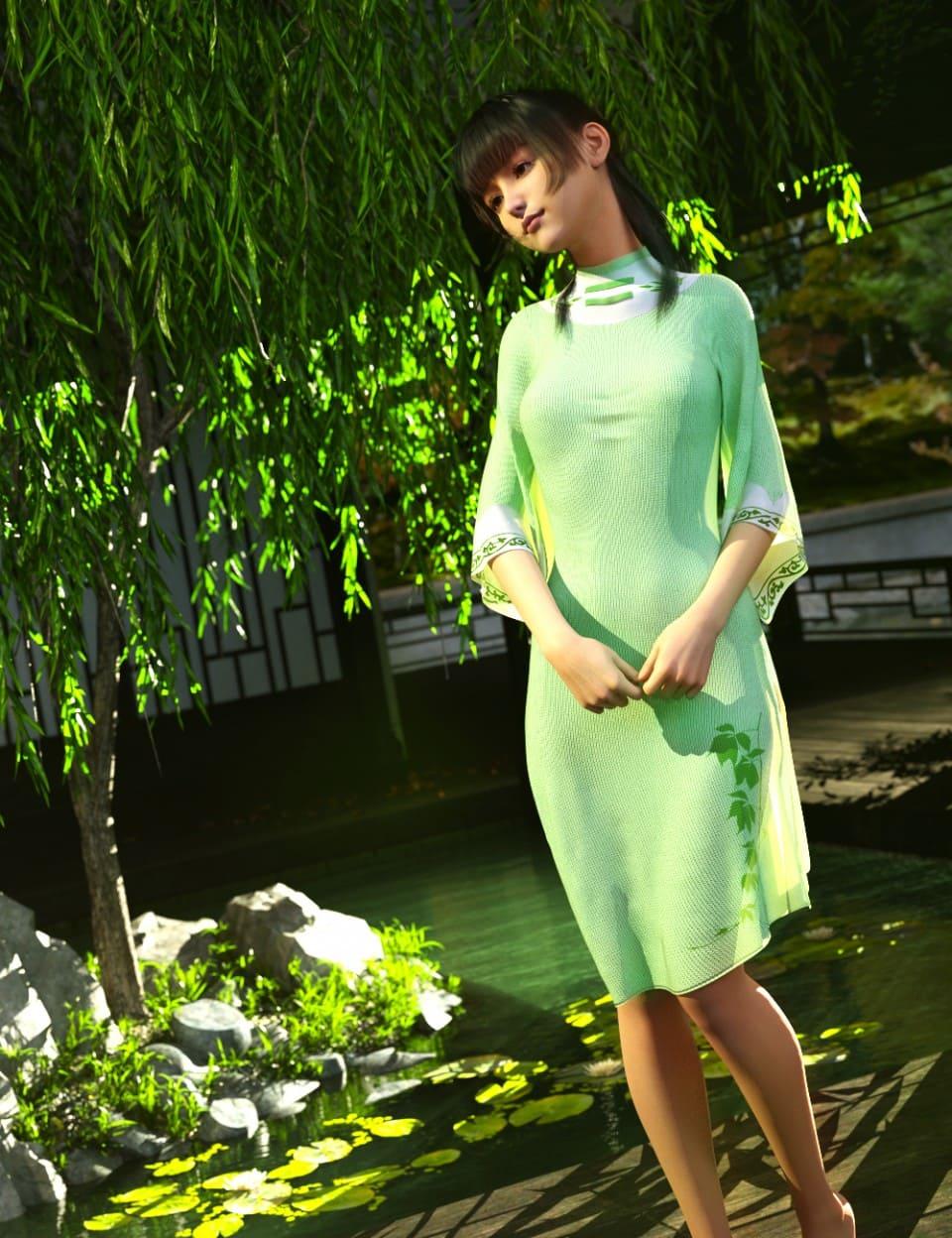 dForce Floral Dress for Genesis 8 Female(s)_DAZ3D下载站