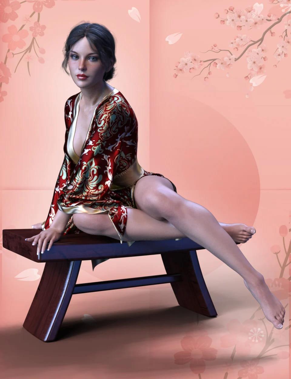 dForce XF Sexy Kimono 02 for Genesis 8 Female(s)_DAZ3D下载站