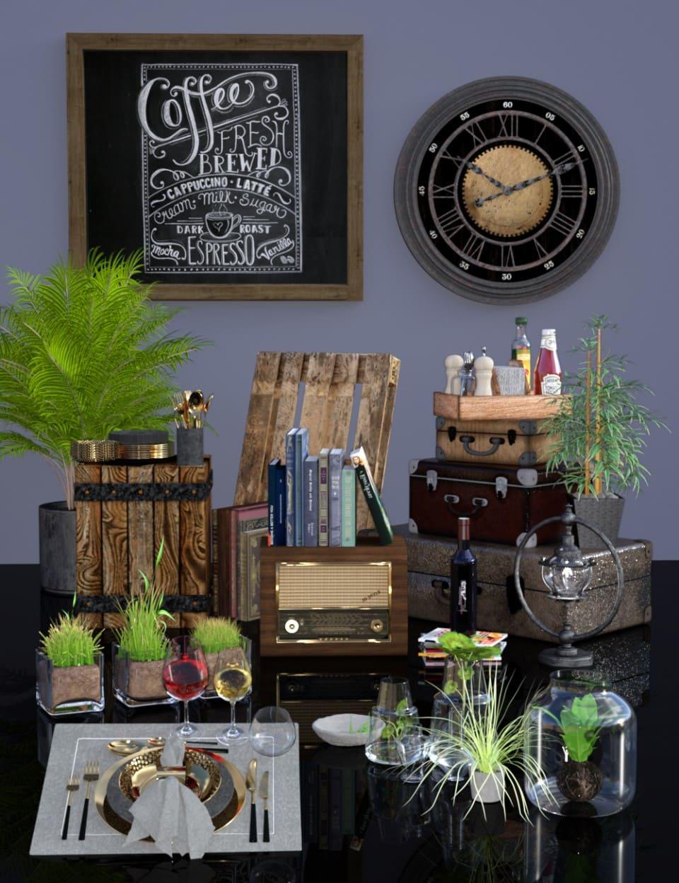 Industrial Loft Dining Room Decoration Add-on_DAZ3D下载站