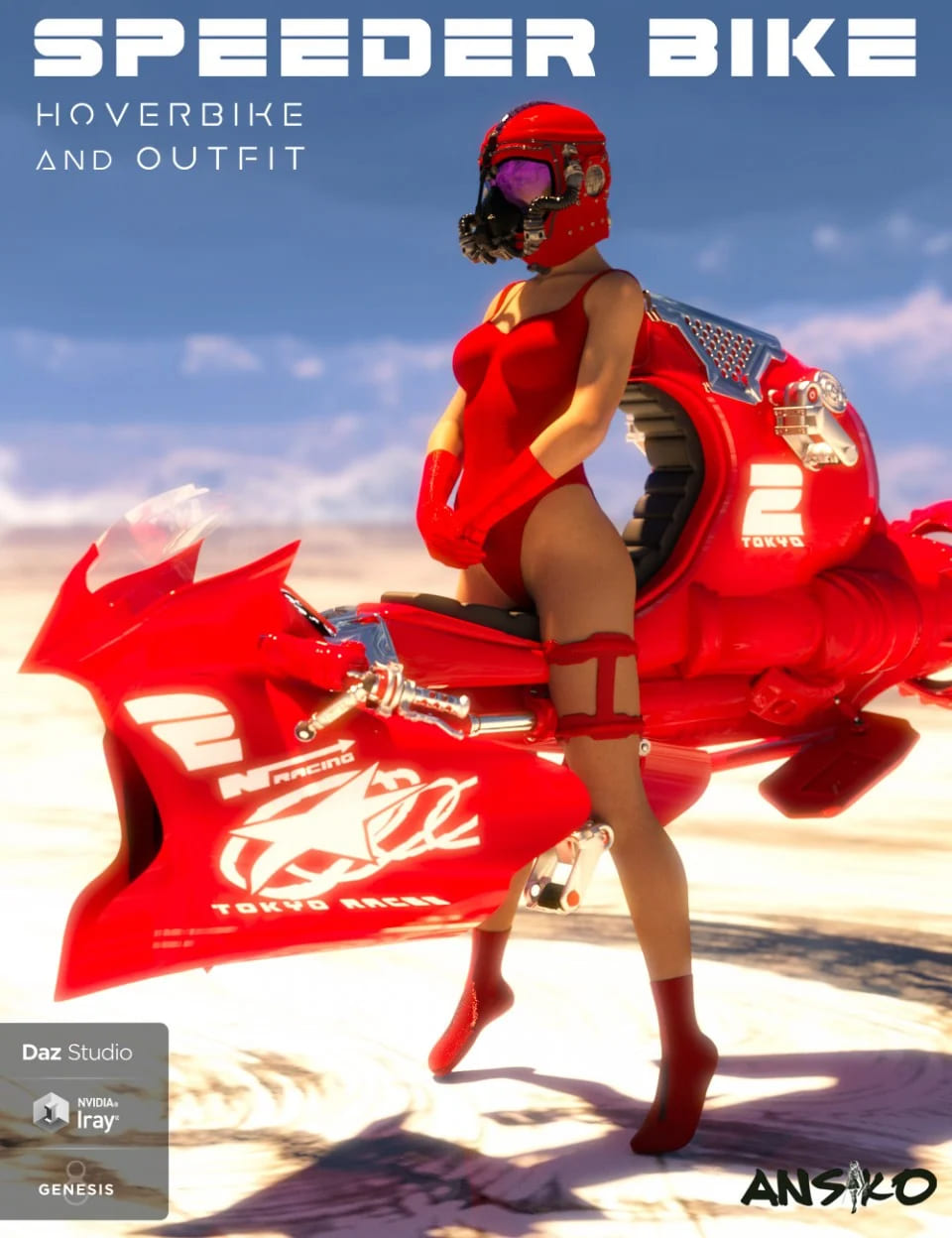 Speeder Bike and Outfit for Genesis 8 Female(s)_DAZ3D下载站