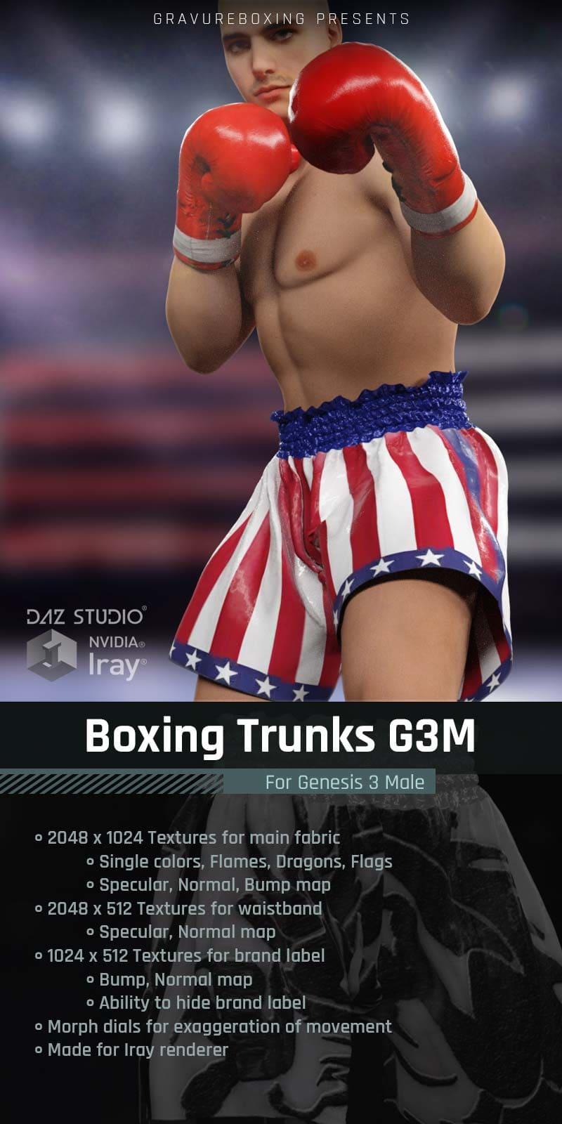 Boxing Trunks G3M for Genesis 3 Male_DAZ3D下载站