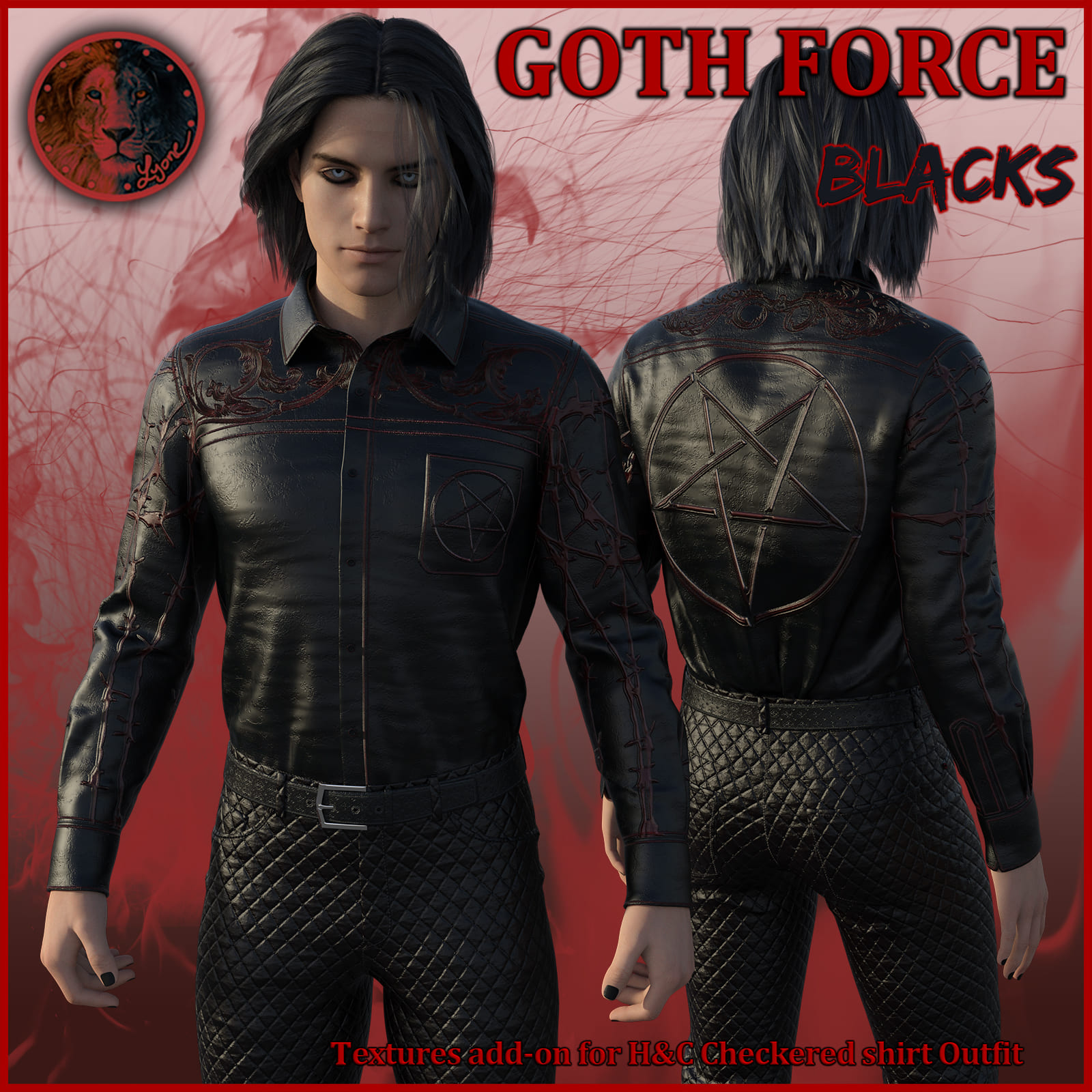 Goth Force blacks for H and C Checkered Shirt Outfit for G8M_DAZ3D下载站