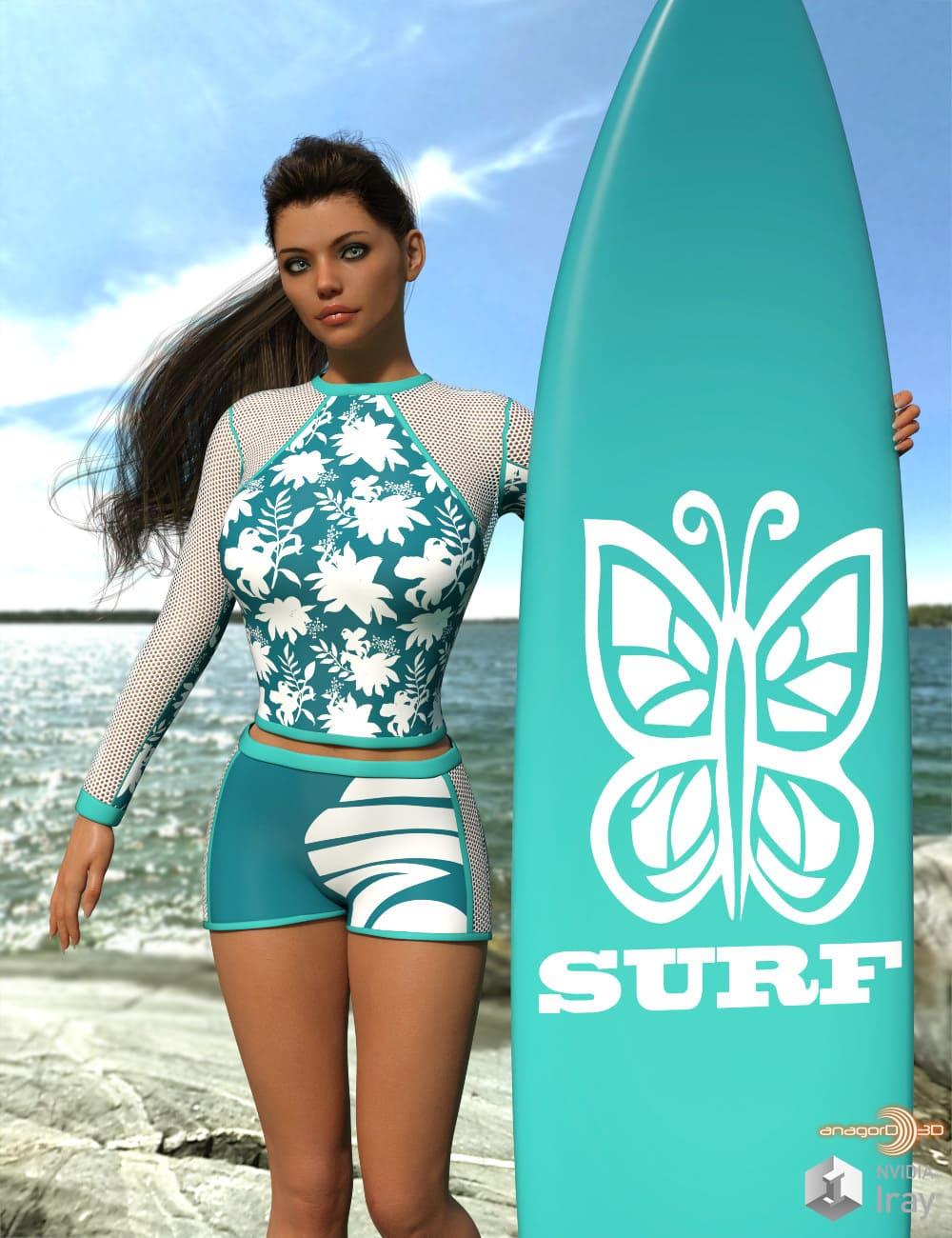 VERSUS - Surfer Girl Outfit for Genesis 8 Female_DAZ3D下载站