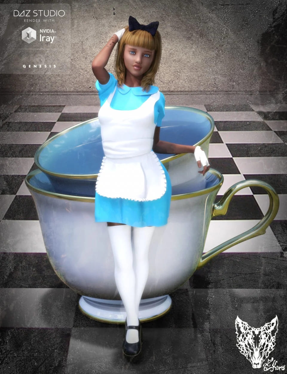 Wonderland Alice Outfit and Props for Genesis 3 Female(s)_DAZ3D下载站