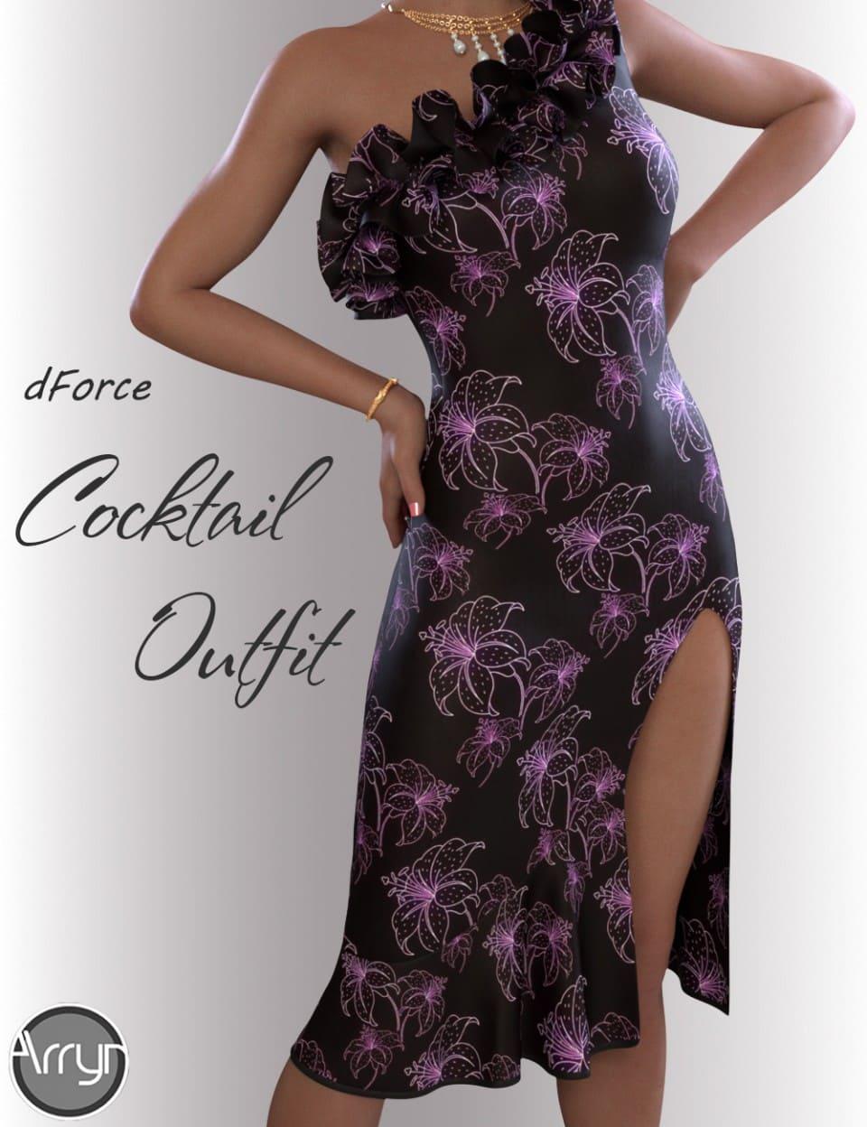 dForce Evening Cocktail Dress Outfit for Genesis 8 Female(s)_DAZ3D下载站