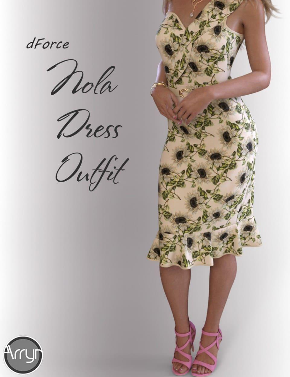 dForce Nola Cocktail Dress outfit for Genesis 8 Female(s)_DAZ3D下载站