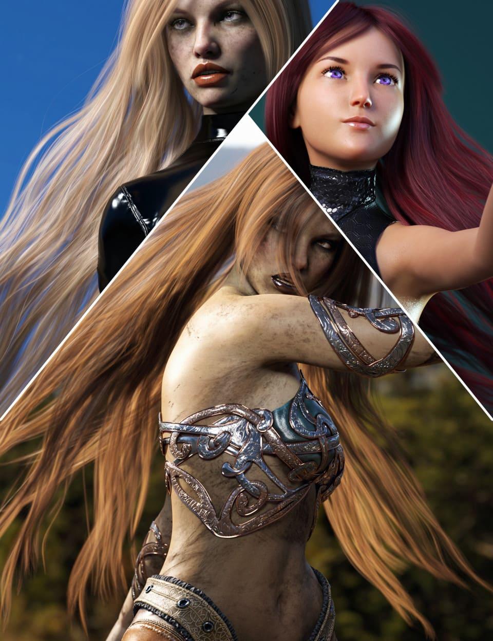 Turbulent Long Hair for Genesis 3 and 8 Females_DAZ3D下载站