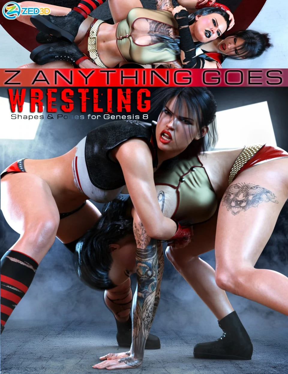 Z Anything Goes Wrestling Shapes and Poses for Genesis 8_DAZ3D下载站