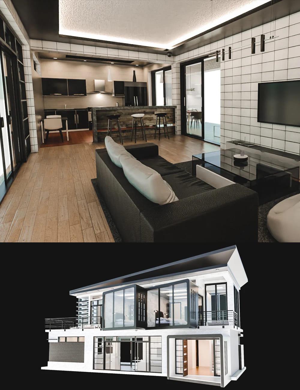 Modern Leisure House_DAZ3D下载站