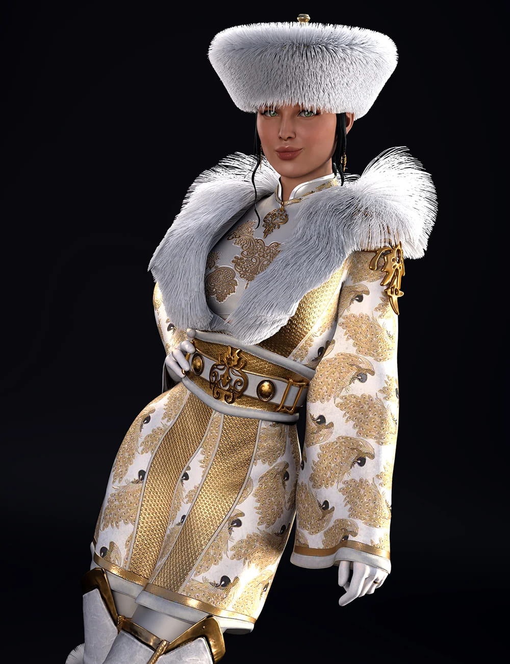 dForce Sujin Imperial Fantasy Outfit for Genesis 8 Females_DAZ3D下载站