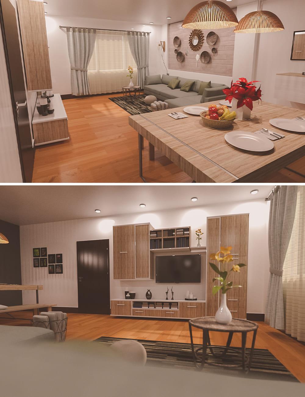Native Living Room_DAZ3D下载站
