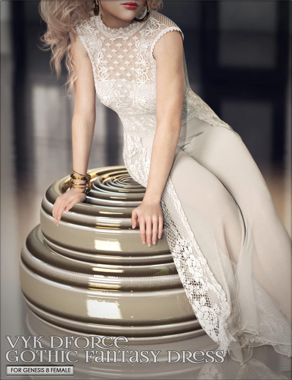 VYK dForce Gothic Fantasy Dress for Genesis 8 Females_DAZ3D下载站