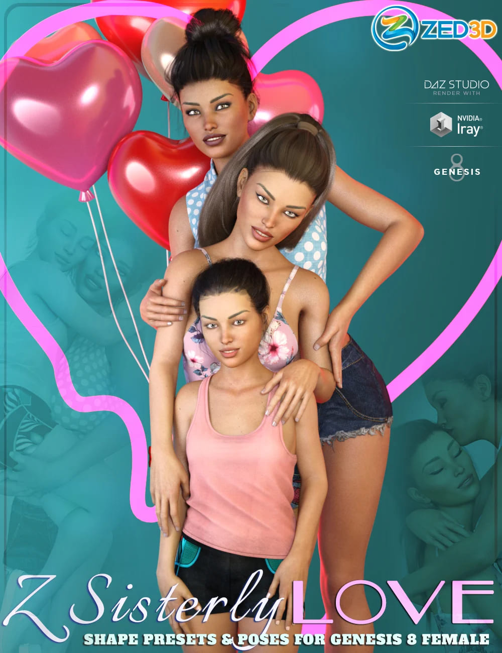 Z Sisterly Love Shape Presets and Poses for Genesis 8 Female_DAZ3D下载站