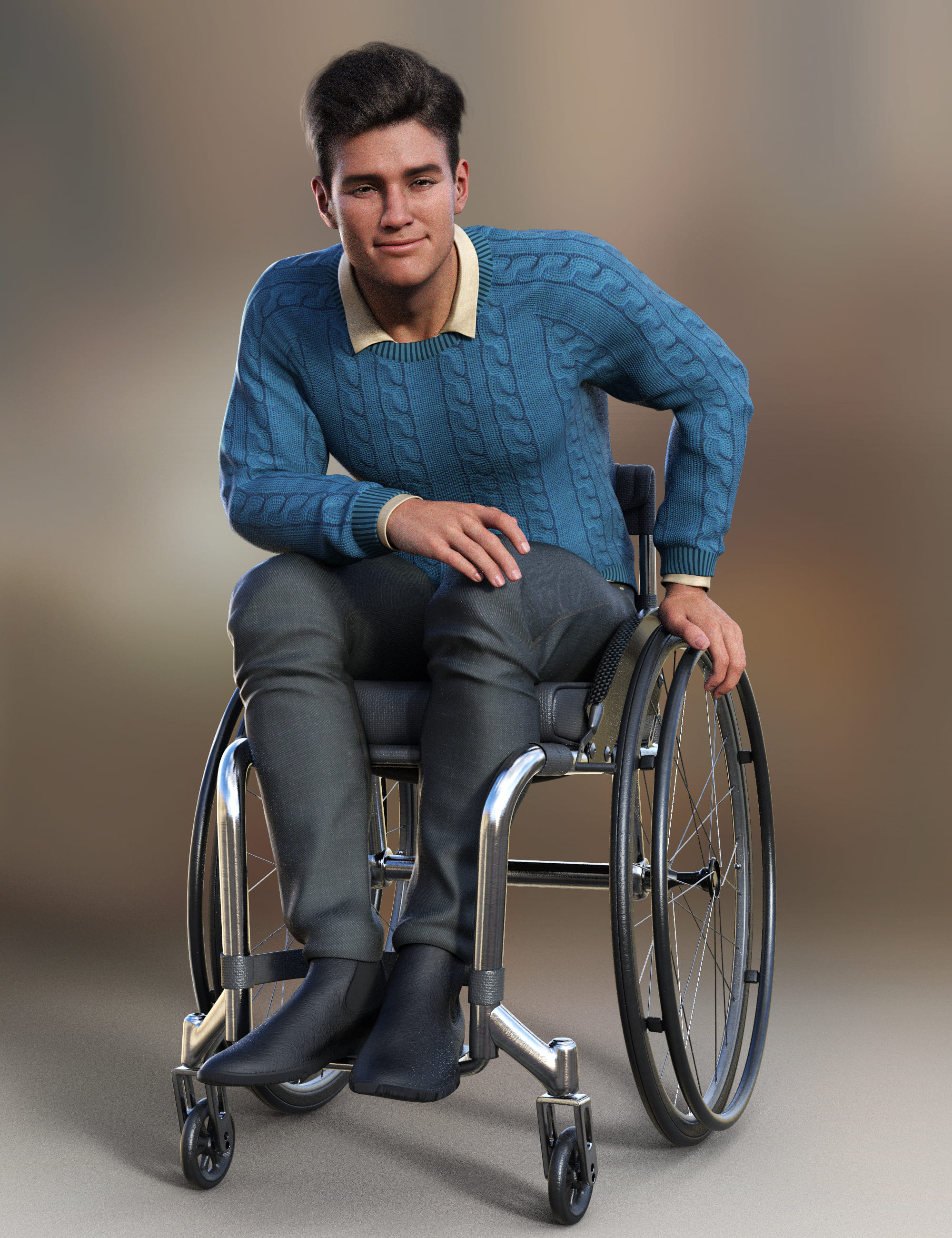Everyday Wheelchair Animations for Genesis 8.1 Male and Michael 8.1_DAZ3D下载站