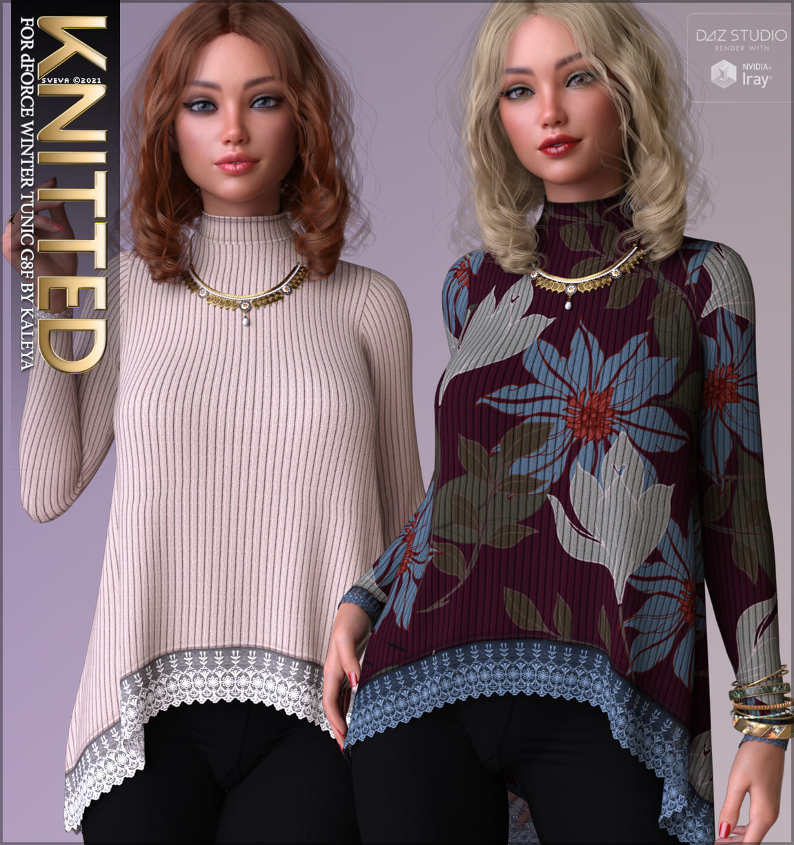 Knitted for dForce Winter Tunic G8F_DAZ3D下载站
