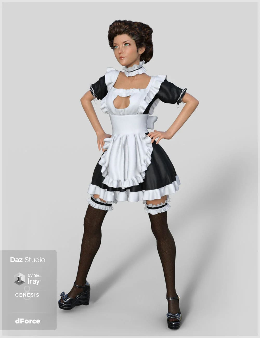dForce French Maid Servant Outfit for Genesis 8 Female(s)_DAZ3D下载站