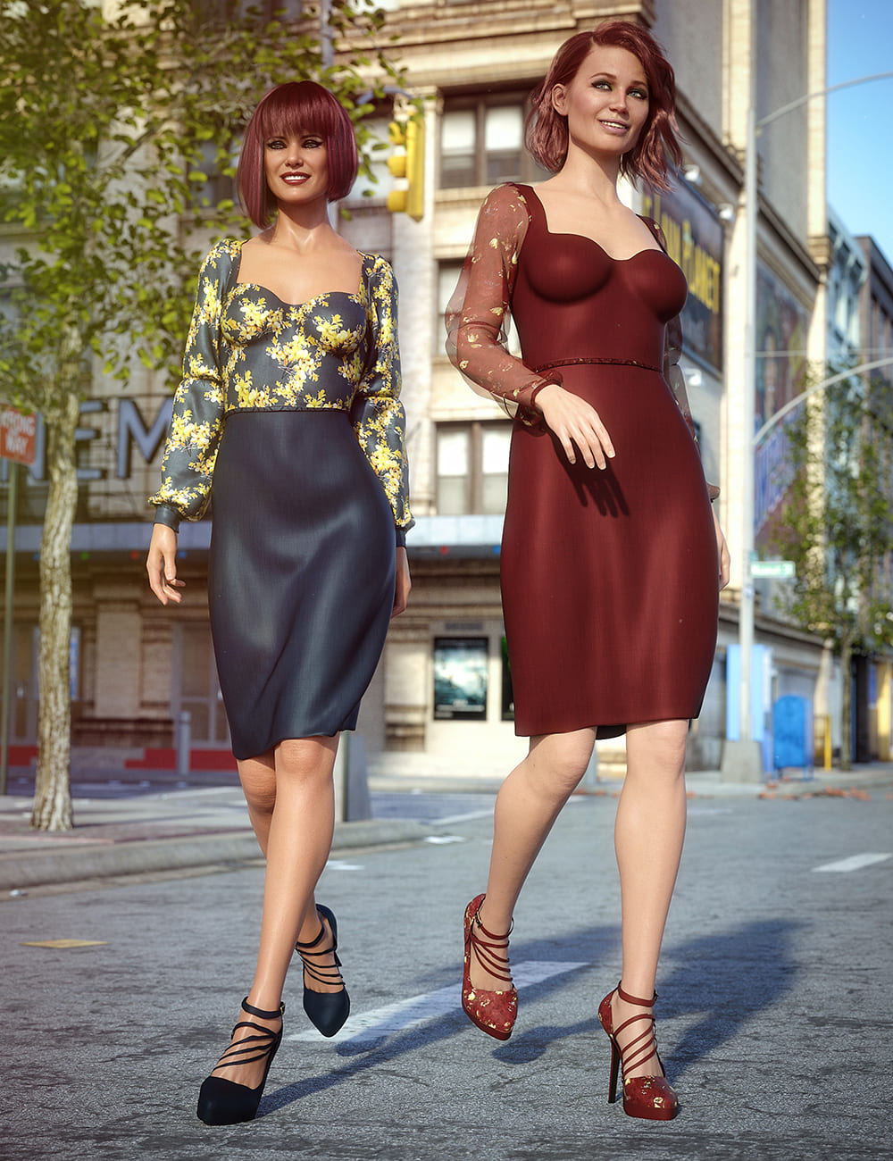 dForce New York Style Dress Outfit Textures_DAZ3D下载站