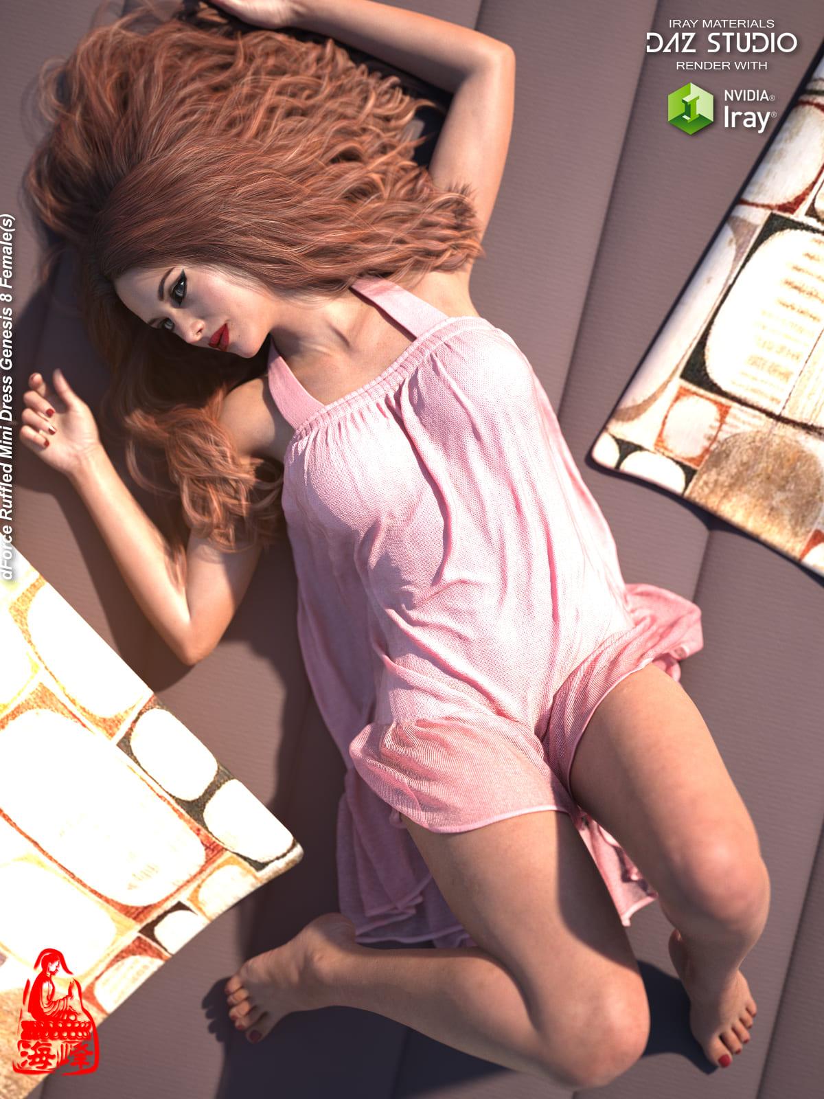 dForce Ruffled Mini Dress for Genesis 8 Female(s)_DAZ3D下载站