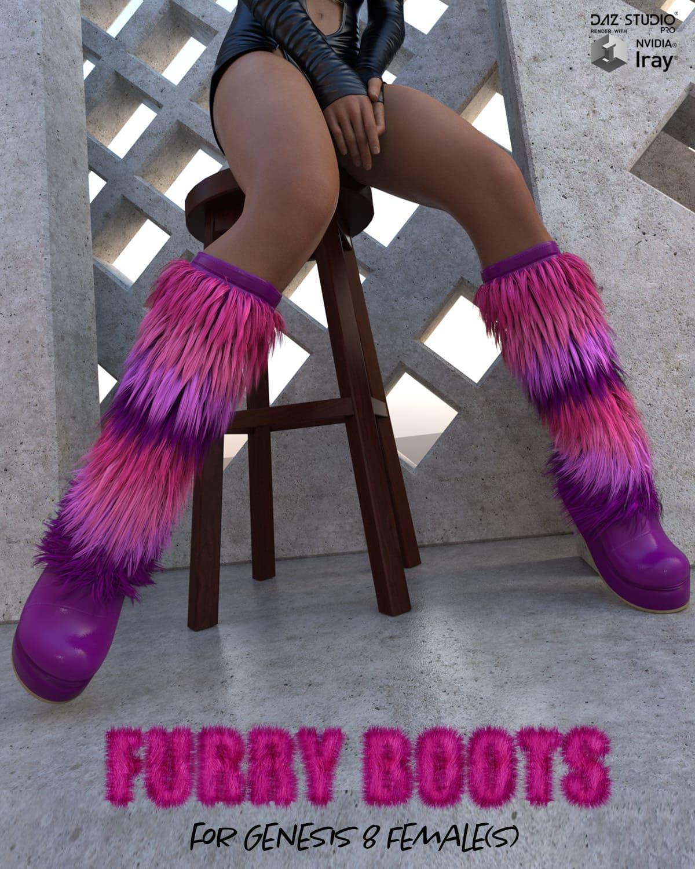 Furry Boots for Genesis 8 Females_DAZ3D下载站