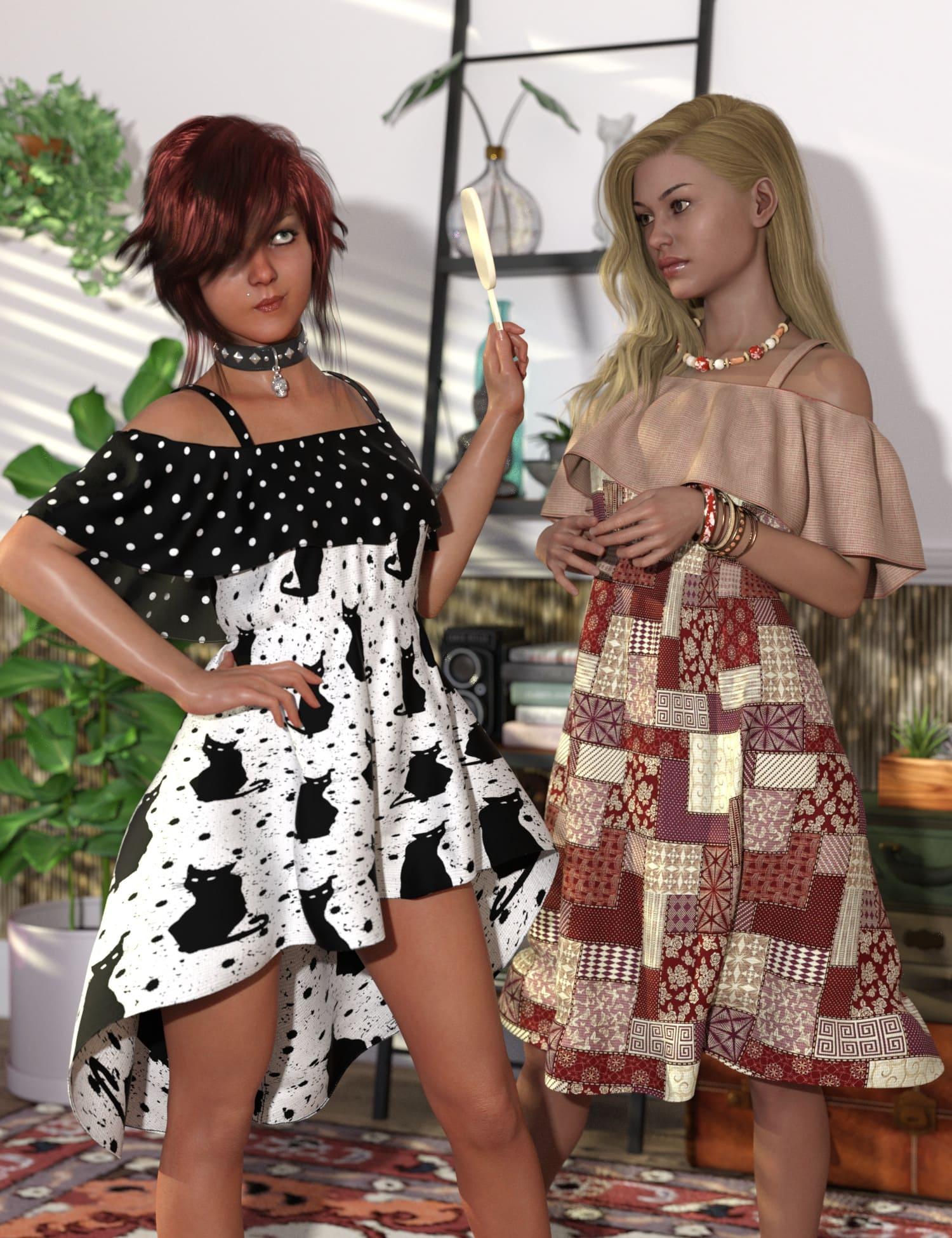 Playground Textures for dForce Ruffle BN Off Shoulder Dress_DAZ3D下载站