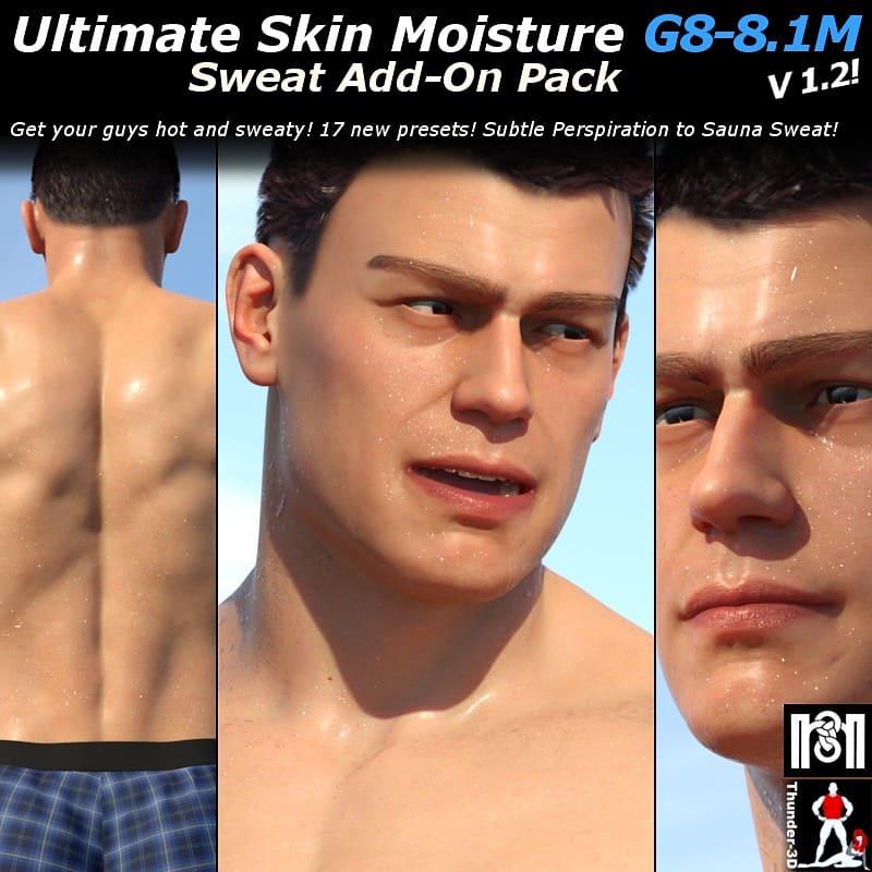 Ultimate Skin Moisture v1.2: Sweat ADD-ON G8-8.1M_DAZ3D下载站
