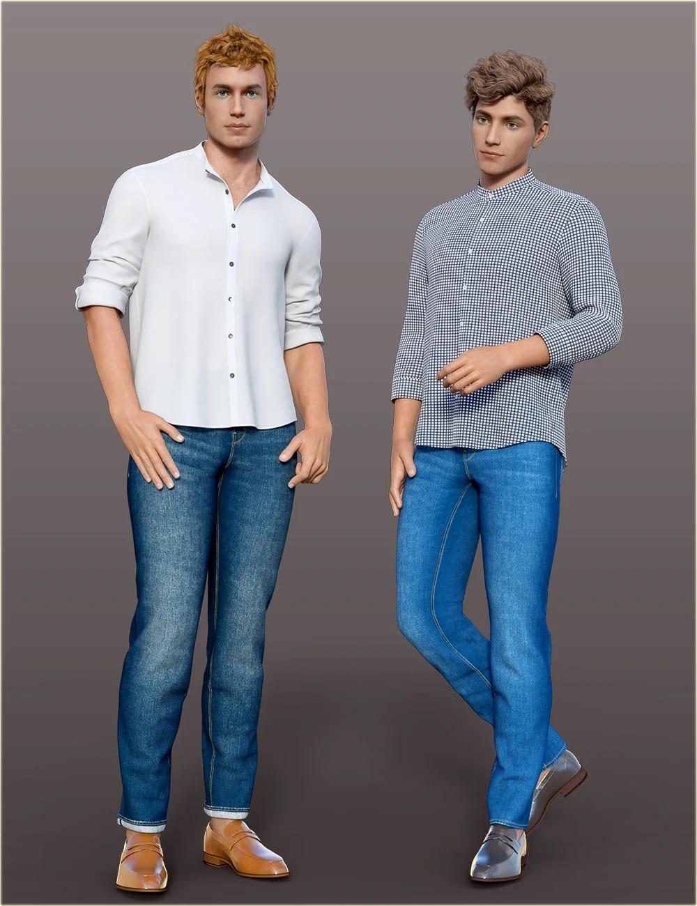 dForce H&C Mandarin Collar Shirt Outfit for Genesis 8 Male(s)_DAZ3D下载站