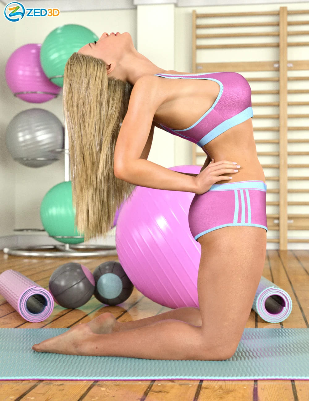 Z Exercise Studio and Poses for Genesis 8 Female_DAZ3D下载站