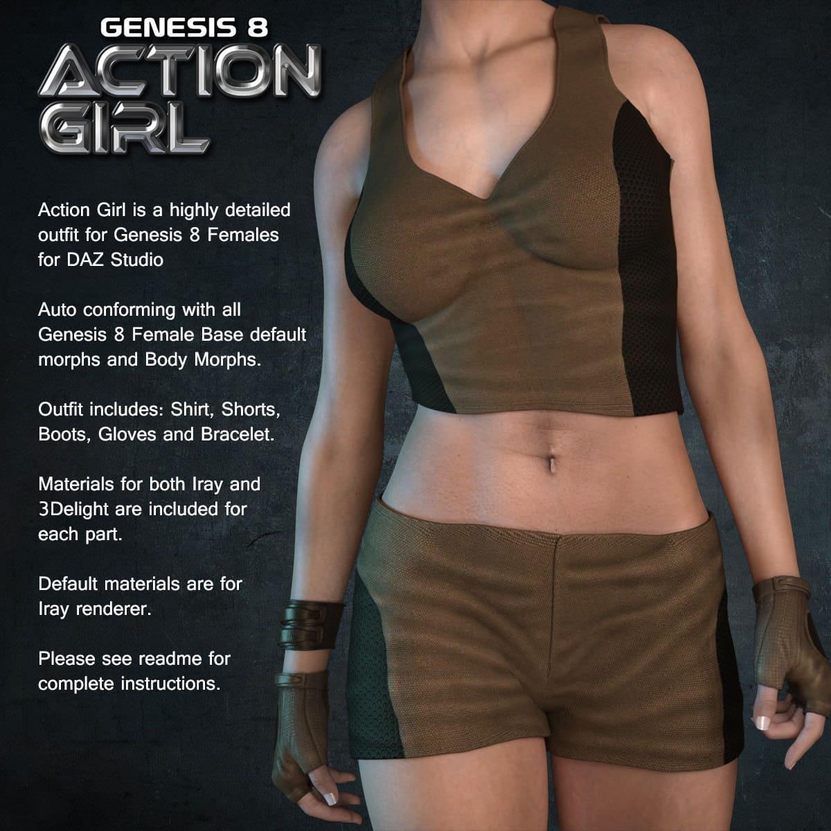 Exnem Action Girl for Genesis 8 Female_DAZ3D下载站