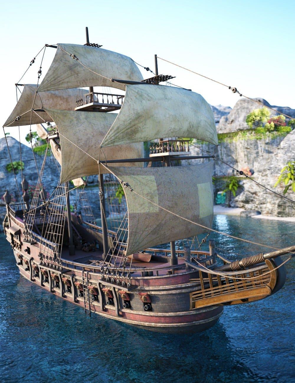 Tartarean Pirate Ship_DAZ3D下载站