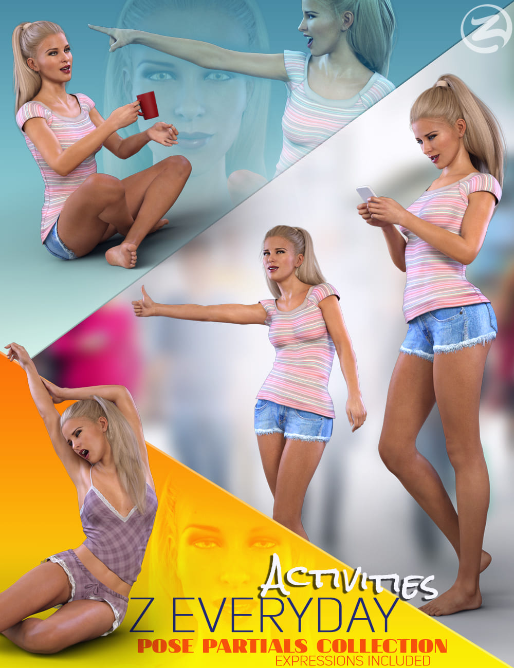 Z Everyday Activities – Poses and Expressions for Genesis 8 Female and Victoria 8_DAZ3D下载站
