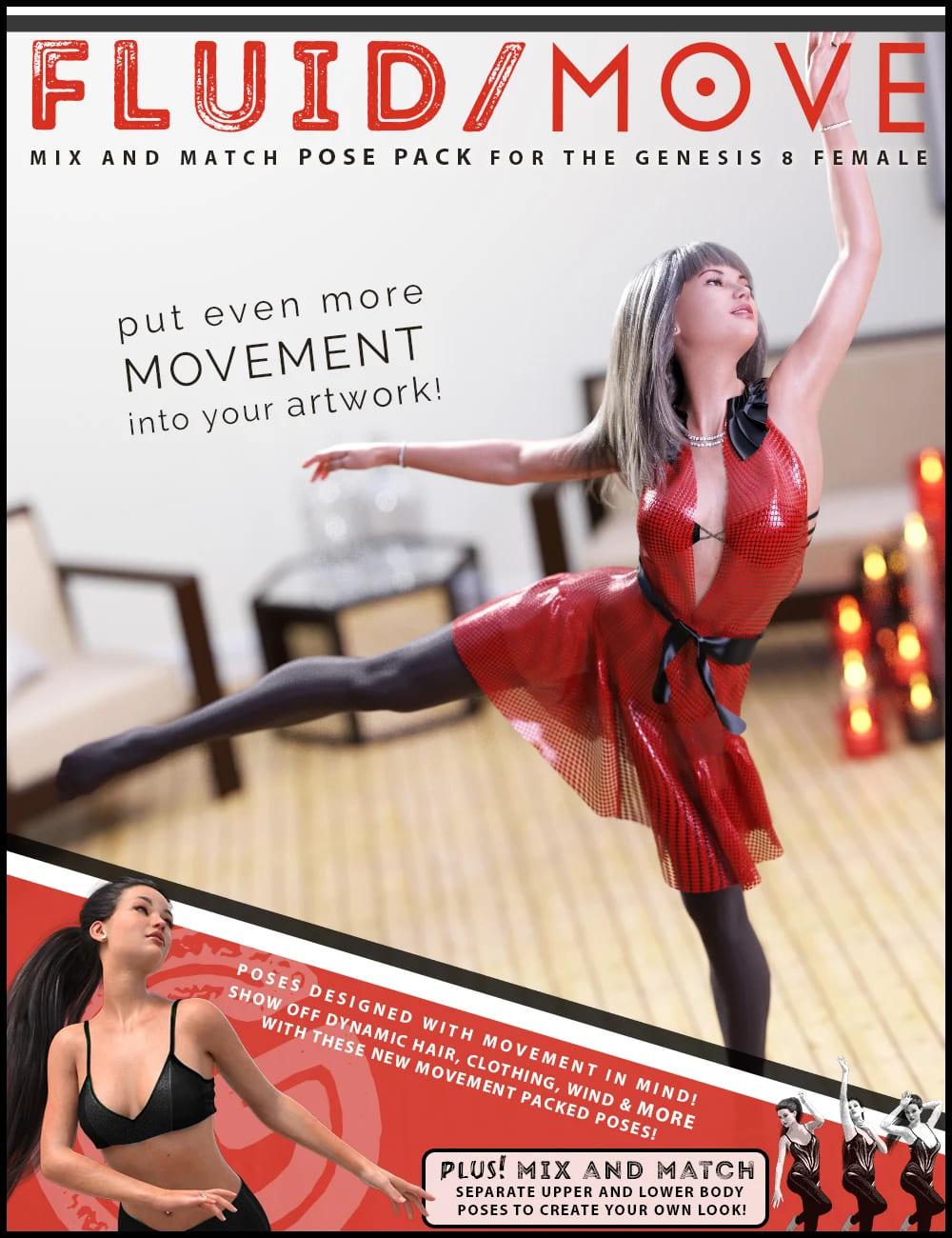 Fluid Move Pose Pack for Genesis 8 Female_DAZ3D下载站