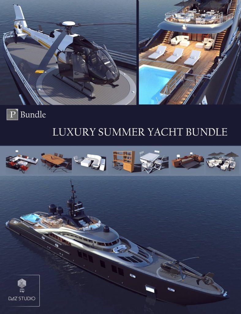 Luxury Summer Yacht Bundle_DAZ3D下载站
