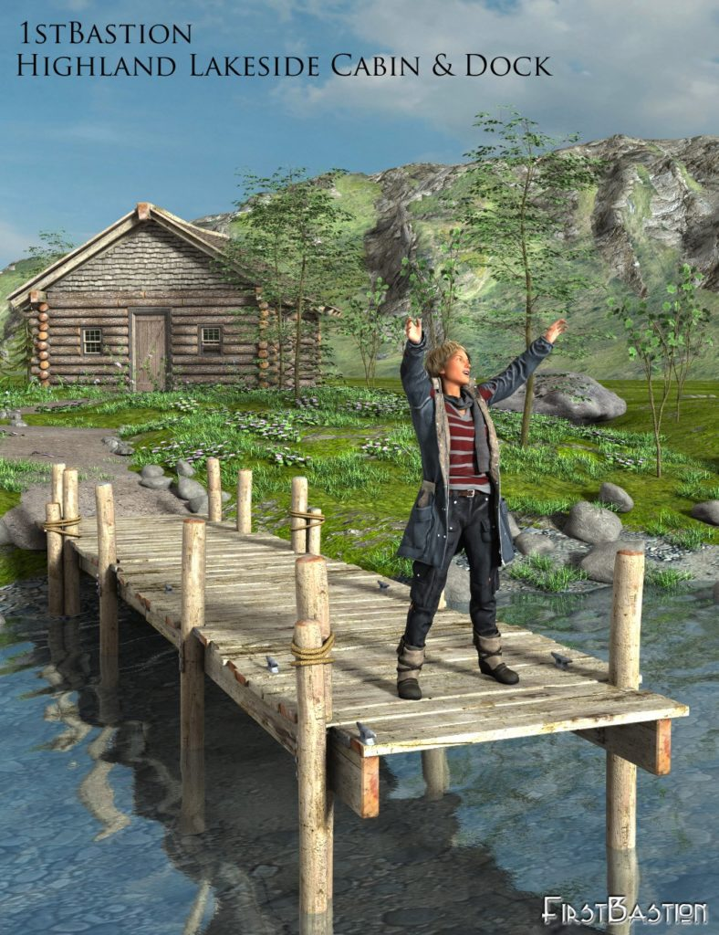 1stBastions Highland Lakeside Cabin and Dock_DAZ3D下载站