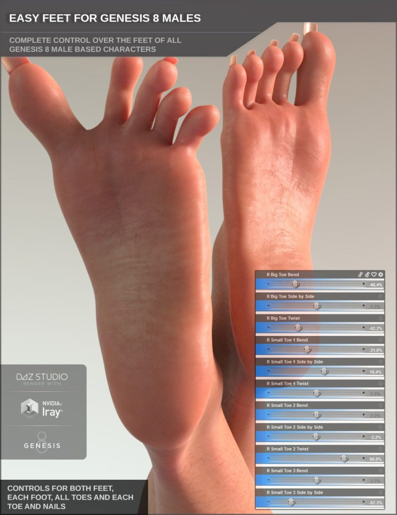 Easy Feet for Genesis 8 Male(s)_DAZ3D下载站