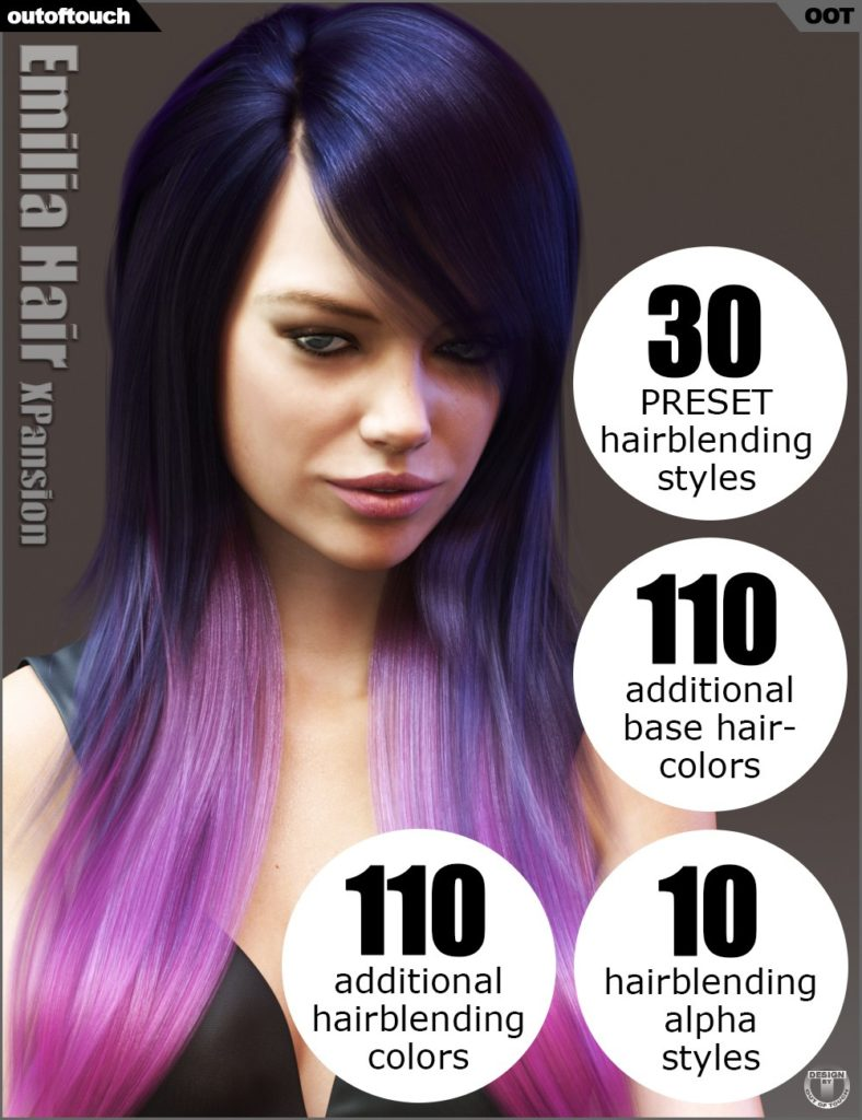 Emilia Hair and OOT Hairblending 2.0 Texture XPansion_DAZ3D下载站