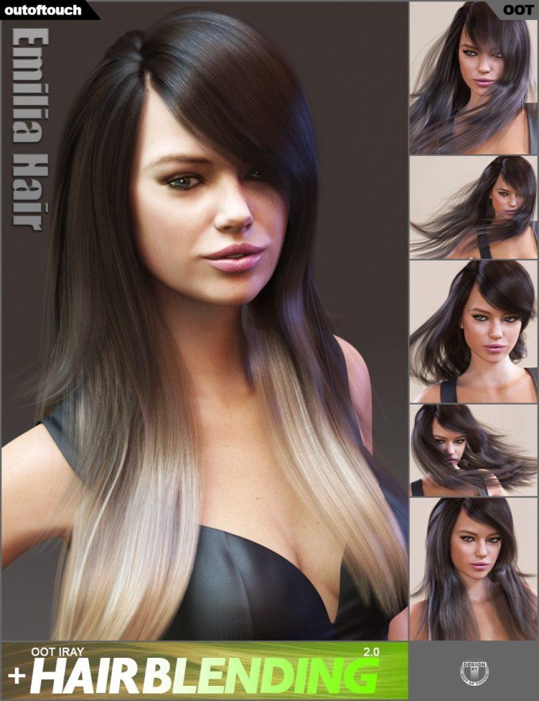 Emilia Hair and OOT Hairblending 2.0 for Genesis 3 Female(s)_DAZ3D下载站