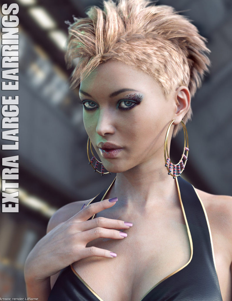 Extra Large Earrings for Genesis 3 Female(s)_DAZ3D下载站