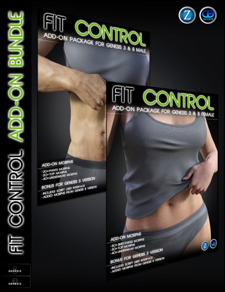 Fit Control Add-On for Genesis 3 and 8 Bundle_DAZ3D下载站
