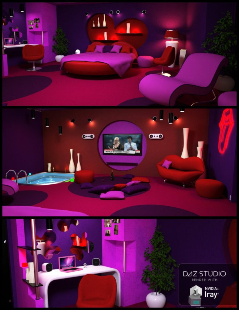 Glamour Bedroom_DAZ3D下载站