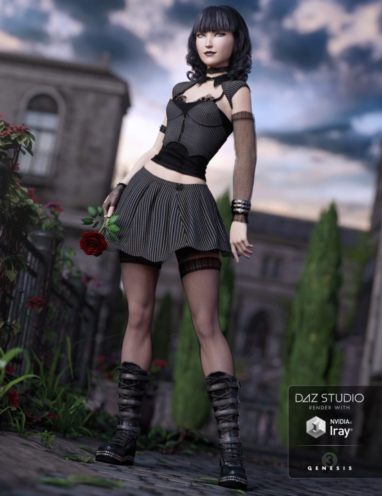 Goth Girl Outfit for Genesis 3 Female(s)_DAZ3D下载站