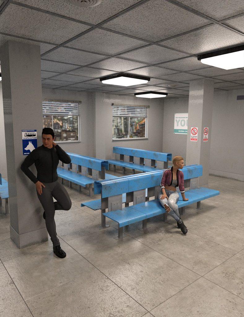 Grungy Waiting Room_DAZ3D下载站