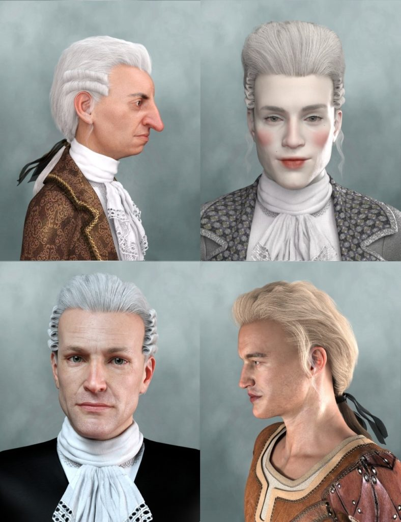 Historical Hair for Genesis 8 and 3 Male(s)_DAZ3D下载站