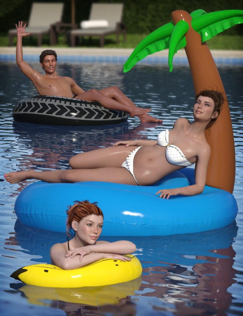 Inflatable Pool Toys & Poses for Genesis 3 and 8_DAZ3D下载站