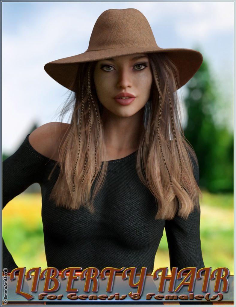 Liberty Hair For Genesis 8 Female(s)_DAZ3D下载站
