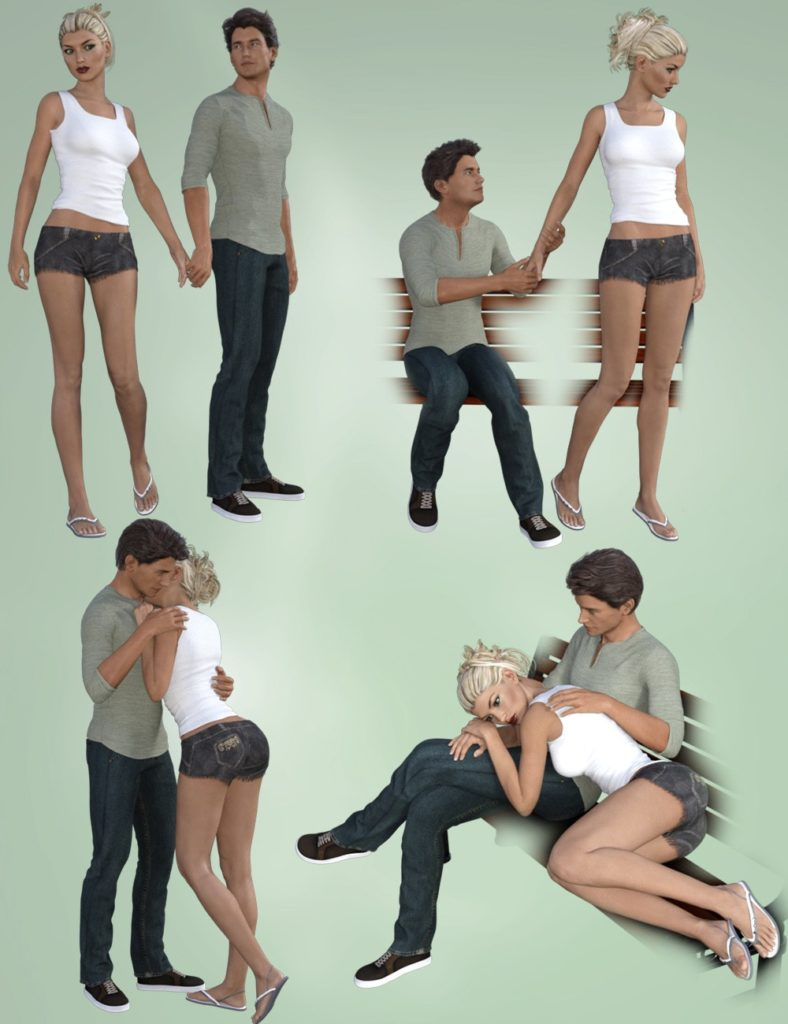 Love Story Poses for Victoria 7 and Michael 7_DAZ3D下载站