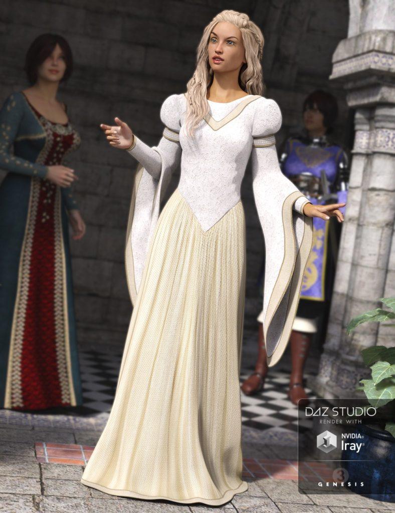Medieval Princess Dress for Genesis 3 Female(s)_DAZ3D下载站