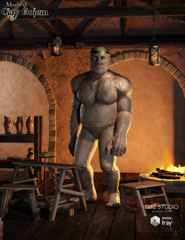 Muelsfell Clay Golem HD for the Genesis 8 Male_DAZ3D下载站