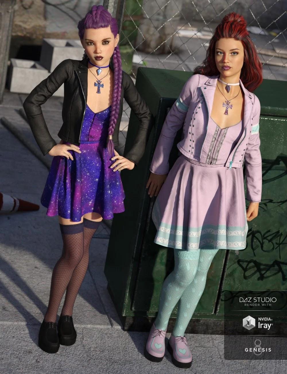 Pastel Goth Outfit Textures_DAZ3D下载站